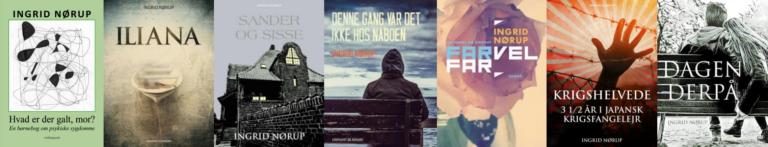 Forfatter Ingrid Nørup har lavet massere af bøger. Her vises en del af dem.