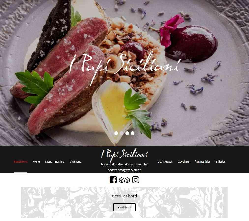 Billig WordPress Hjemmeside til den italienske restaurant I Pupi Siciliani lavet af Dit Online Visitkort